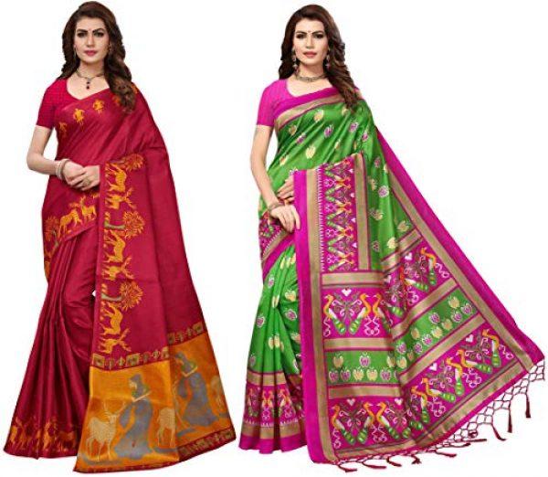 gosriki cotton with blouse piece saree pack of 2