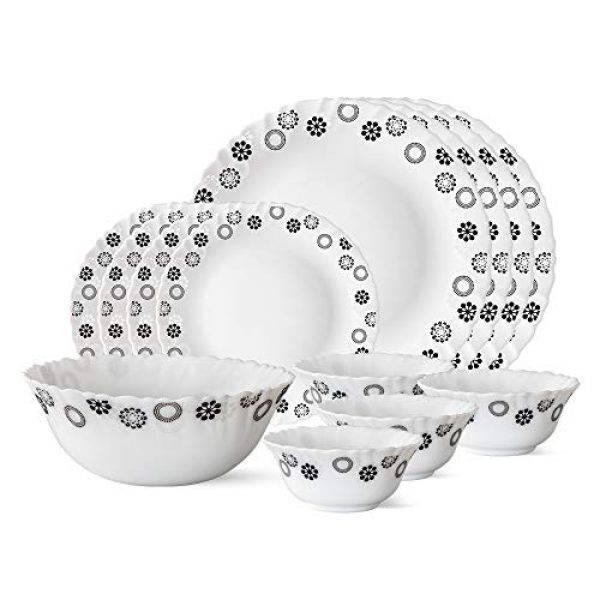 larah by borosil universe opalware dinner set 13 pieces white