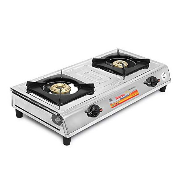 surya shining flame classic stainless steel 2 burner gas stoves multicolour
