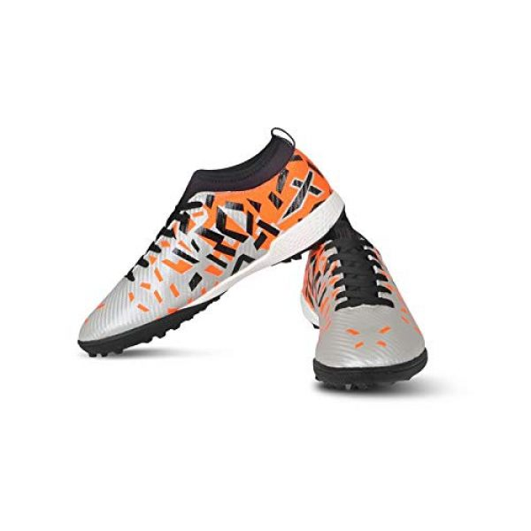 vector x flame indoor football shoes silver orange size 5