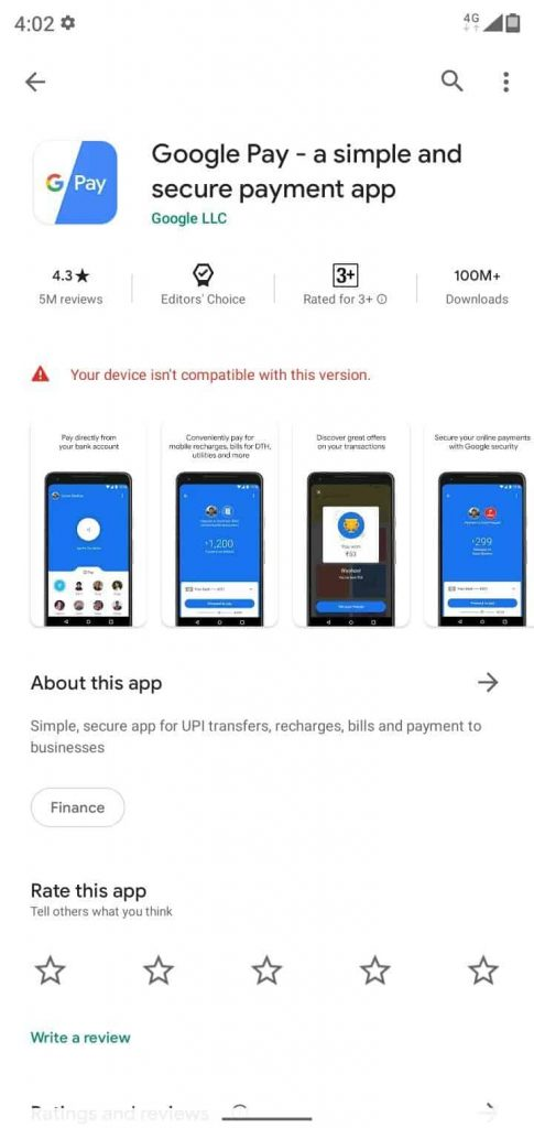 Google Pay Removed from Playstore