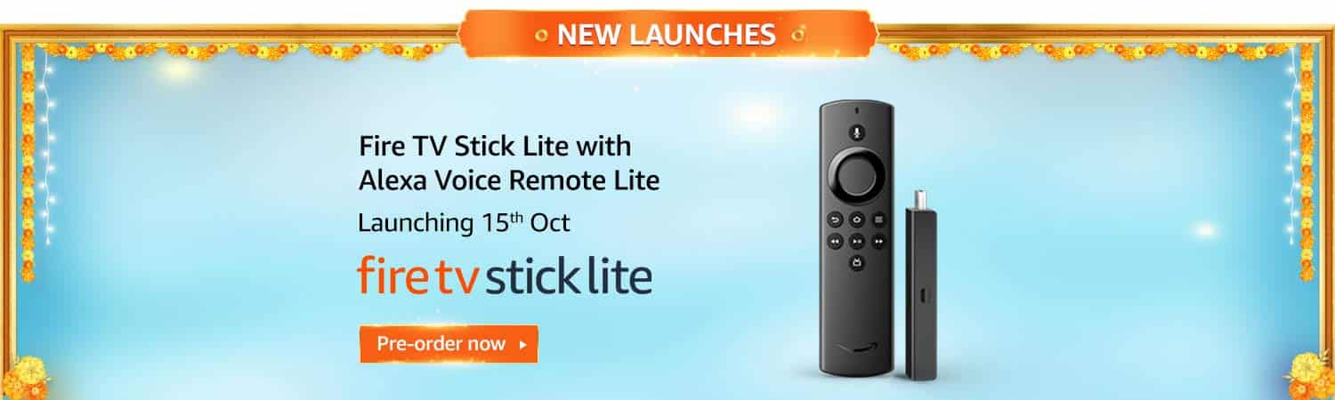 3. Fire TV Stick with Alexa Voice Remote Lite - Amazon Great Indian Festival Sale 2020