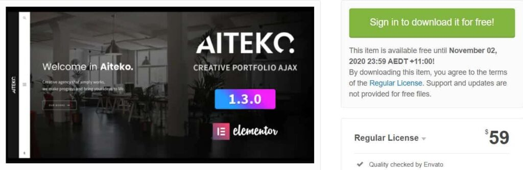 Aiteko - Creative Portfolio Ajax Elementor WordPress Free Theme