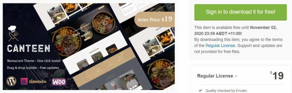 Canteen - Restaurant WordPress Free Themes