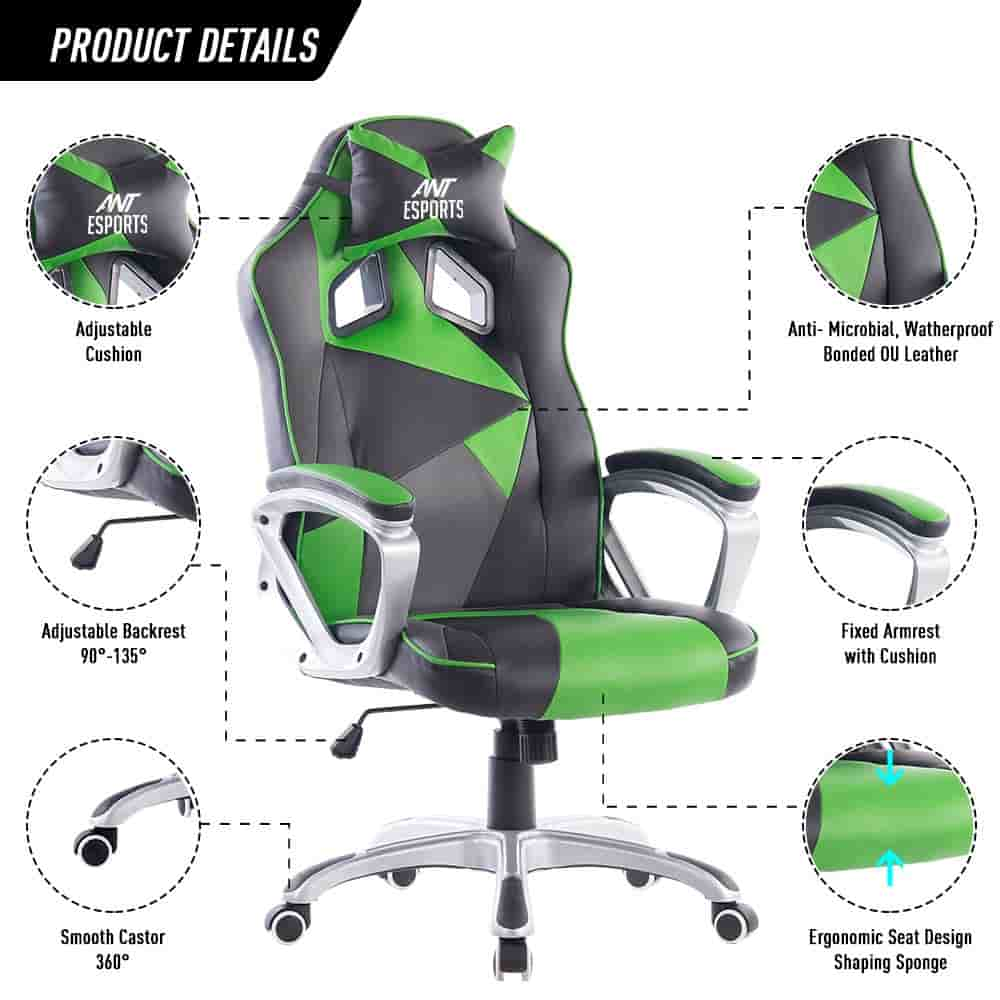 Ant Esports PVC Black Metal Frame, Gaming Chair Top 10 Best Gaming Chair India 2021