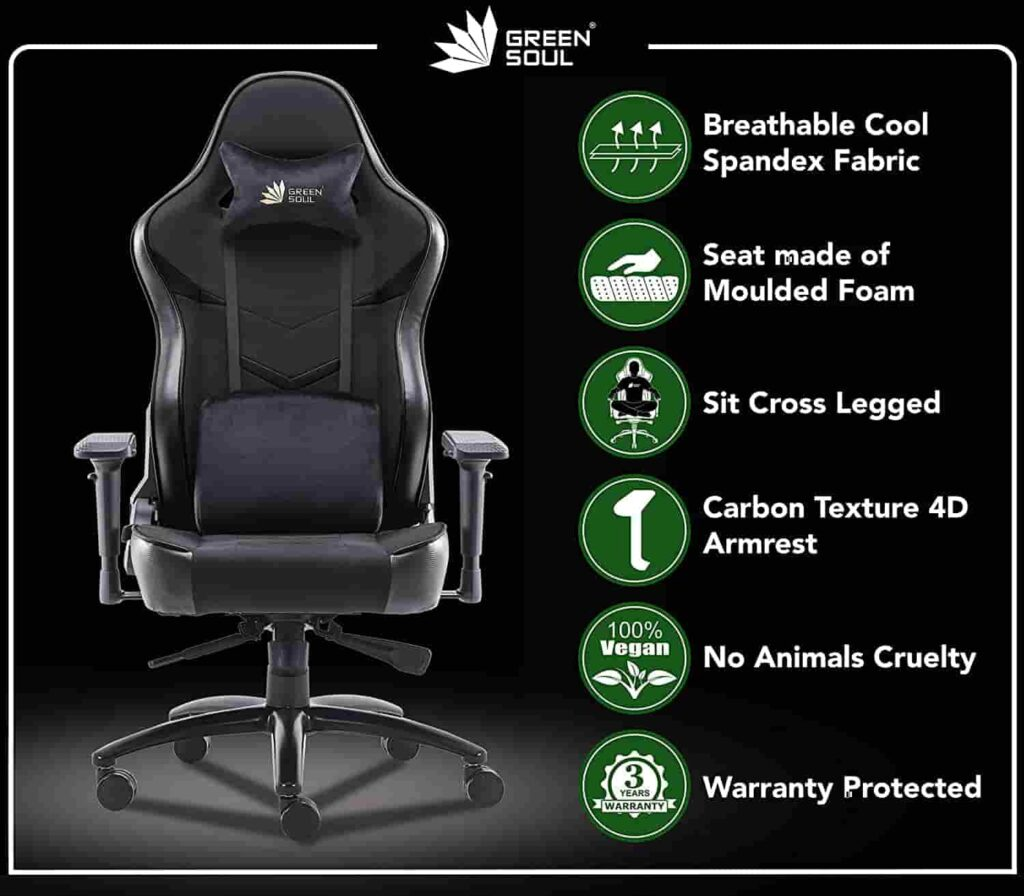 Green Soul® Monster Ultimate S Multi Functional Ergonomic Gaming Chair GS 734US Full Black Large Size Best Gaming Chair India 2021