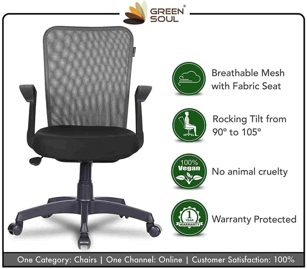 Green Soul Seoul Mid Back Office Study Chair with 4 Color Options and Breathable Mesh Best Gaming Chair min