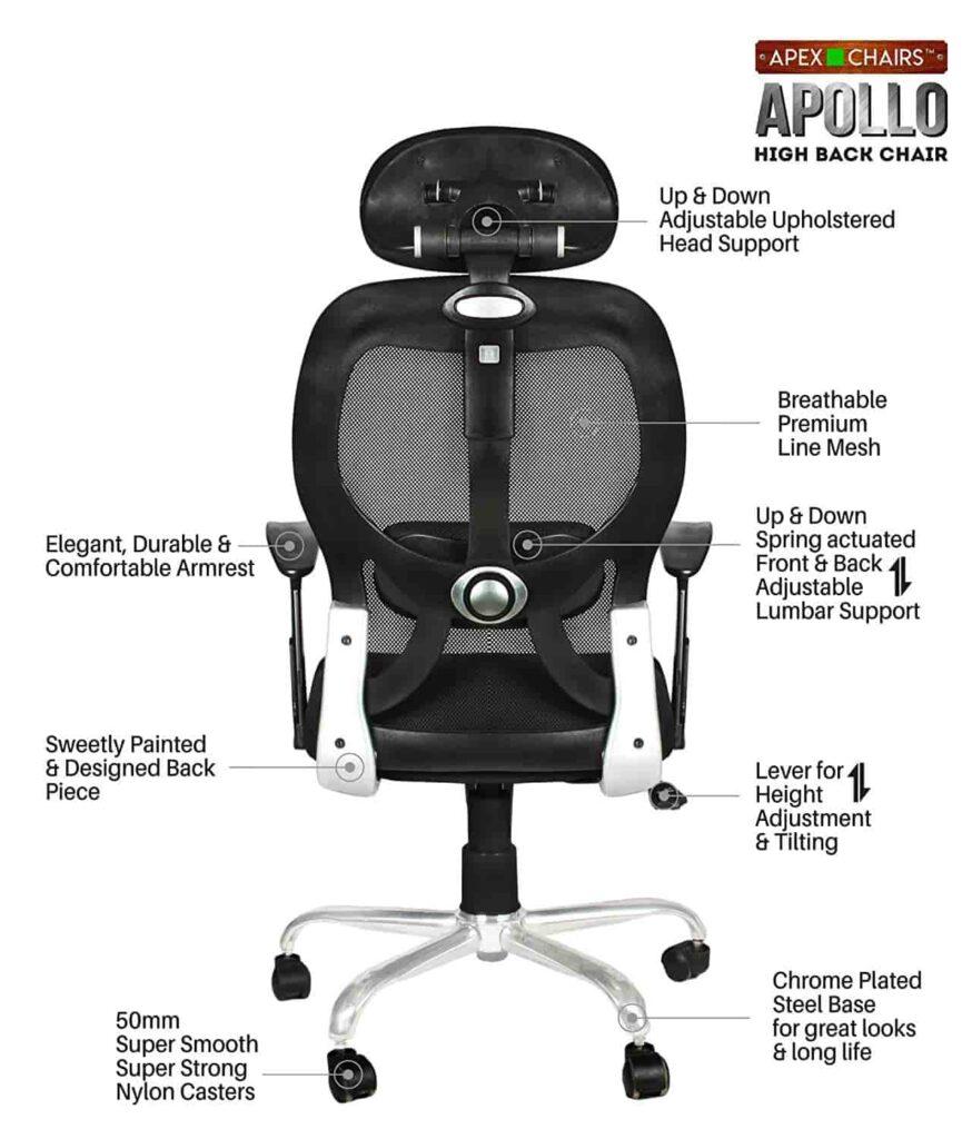 Savya Chrome Base HIGH Back Engineered Plastic Frame - Best Office Chair