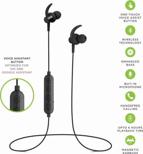 SoundLogic PLAY Voice Assistant Sport Earbuds Bluetooth Headset with